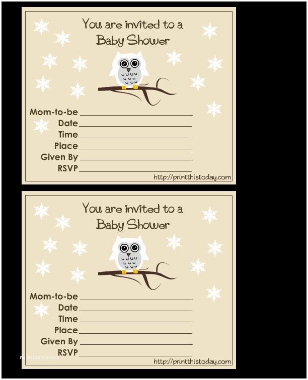 Free Printable Owl Baby Shower Invitations Free Cute Owl Baby Shower Invitations