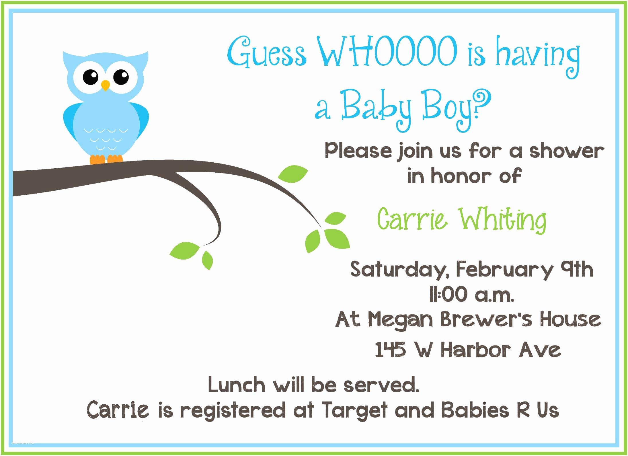 Free Printable Owl Baby Shower Invitations Free Printable Owl Baby Shower Invitations Sample