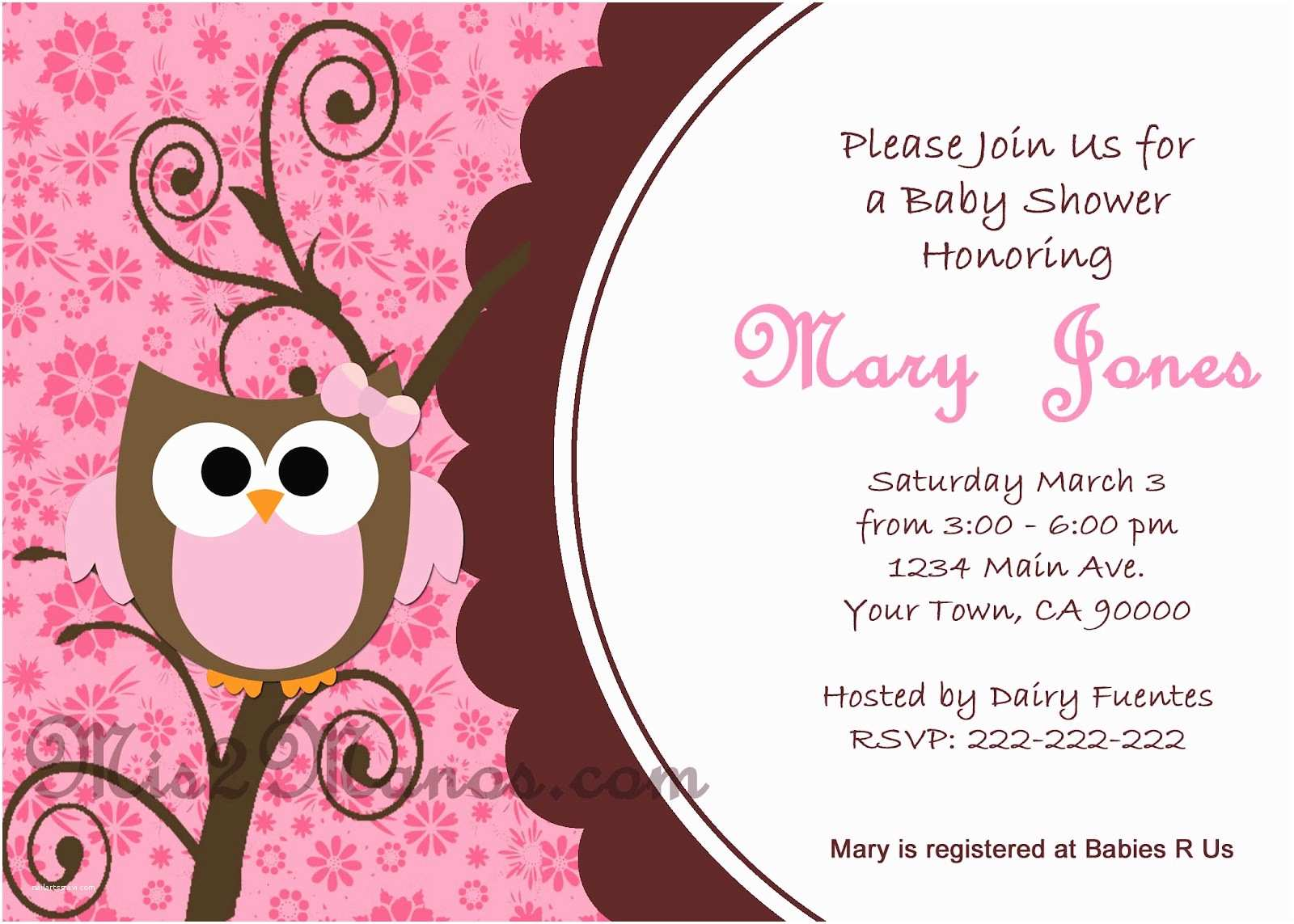 Free Printable Owl Baby Shower Invitations Mis 2 Manos Made by My Hands March 2012