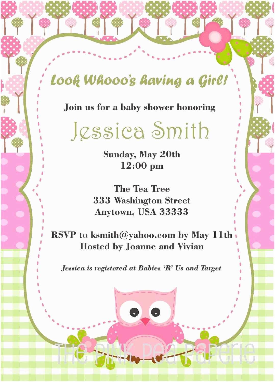 Free Printable Owl Baby Shower Invitations Owl Baby Shower Invitation with Pink and Green Digital