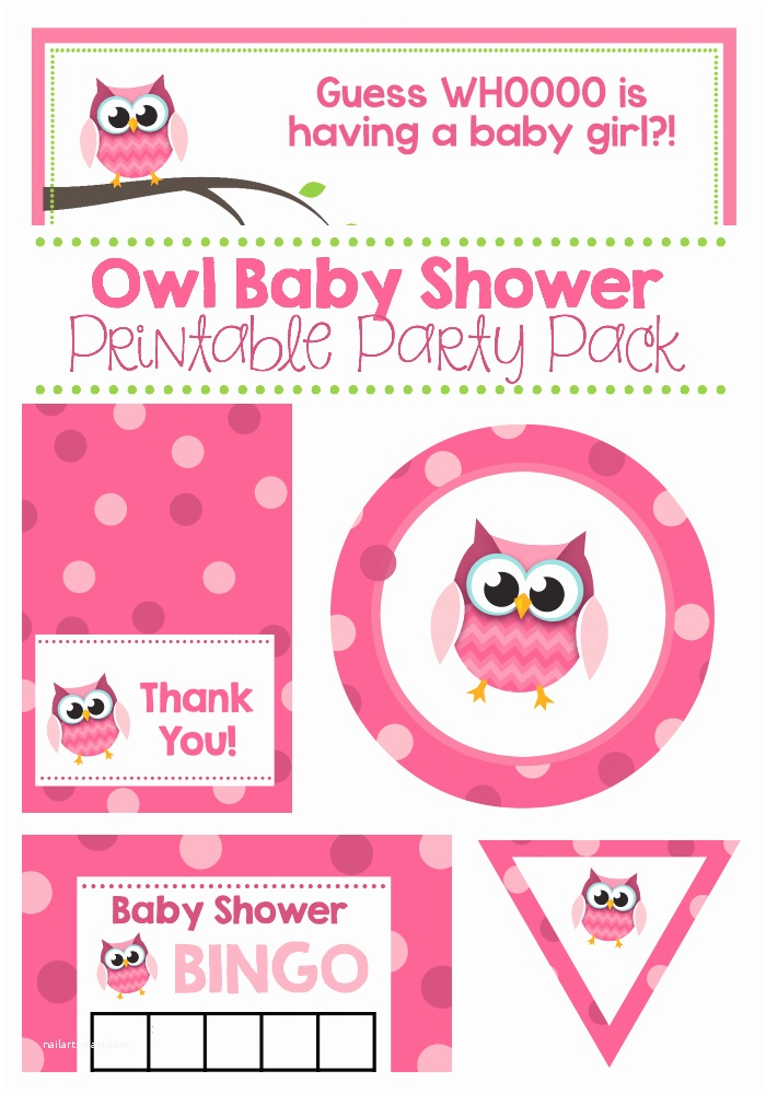 Free Printable Owl Baby Shower Invitations Pink Owl Baby Shower Printable Pack