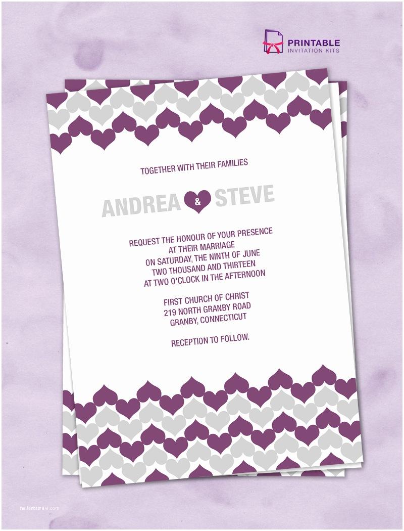 Free Printable Wedding Invitation Kits Chevron Hearts Wedding Invitation ← Wedding Invitation