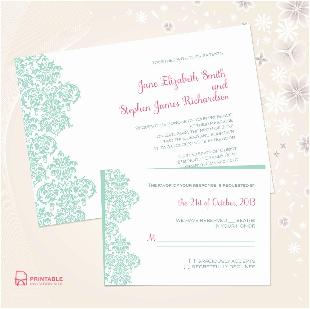 Free Printable Wedding Invitation Kits Damask Border Invitation and Rsvp Set ← Wedding Invitation