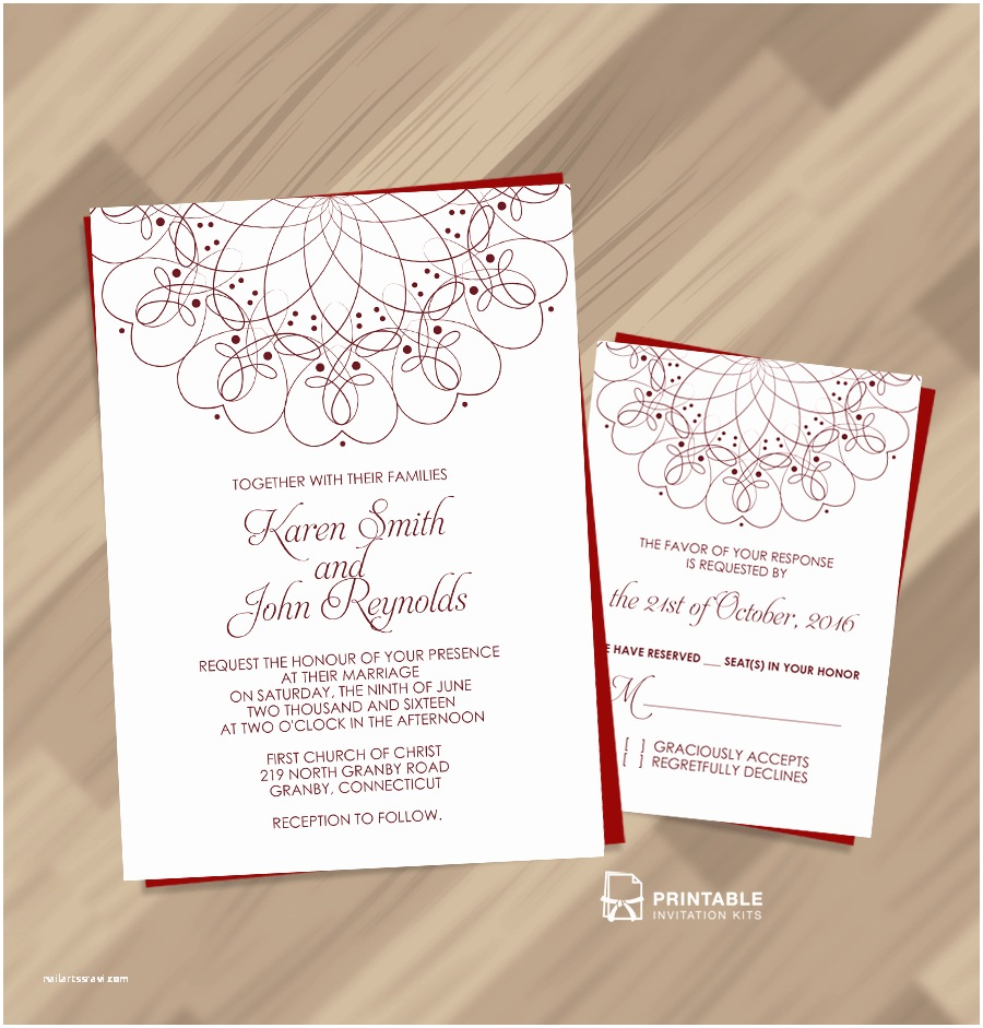 Free Printable Wedding Invitation Kits Spiral ornament Border Wedding Invitation and Rsvp