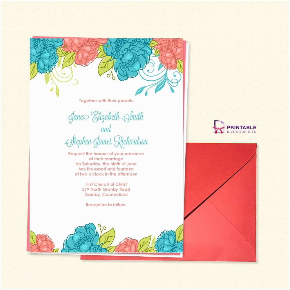 graphic about Printable Invitation Kits known as No cost Printable Wedding ceremony Invitation Kits Summer time Blooms Wedding day