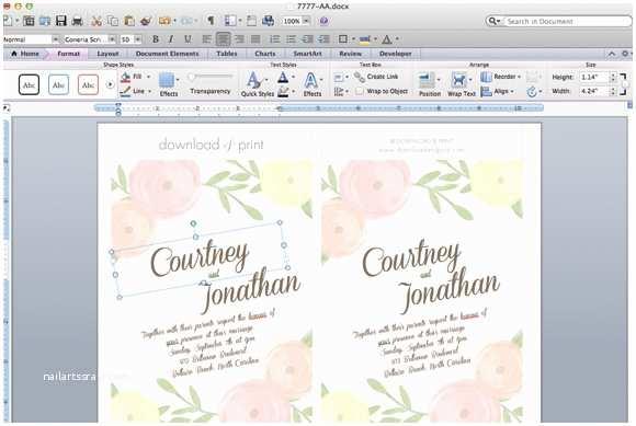 Free Printable Wedding Invitation Templates for Microsoft Word Diy Wedding Invitation Template with Watercolor Flowers