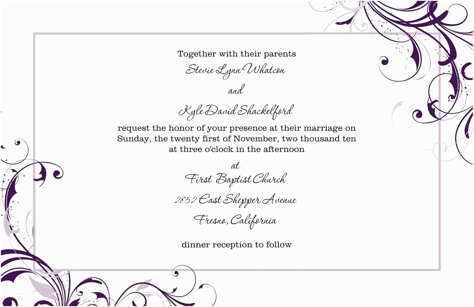 Free Printable Wedding Invitation Templates for Microsoft Word Free Blank Wedding Invitation Templates for Microsoft Word