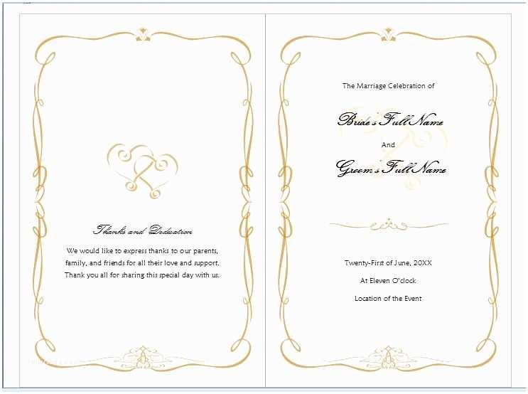 Free Printable Wedding Invitation Templates for Microsoft Word Free Ms Word Family Wedding Program Template