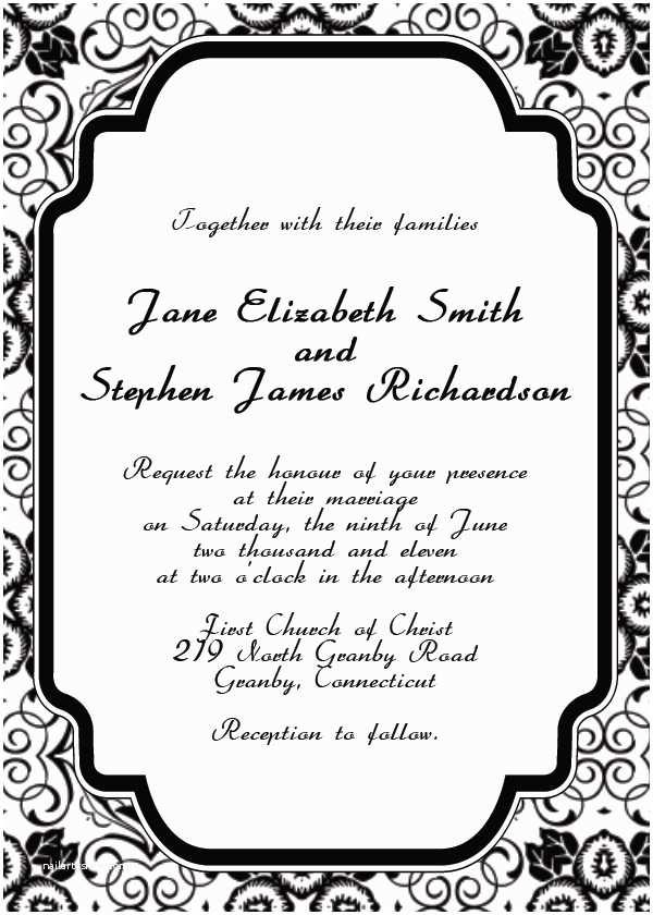 Free Printable Wedding Invitation Templates for Microsoft Word Free Printable Wedding Invitation Templates