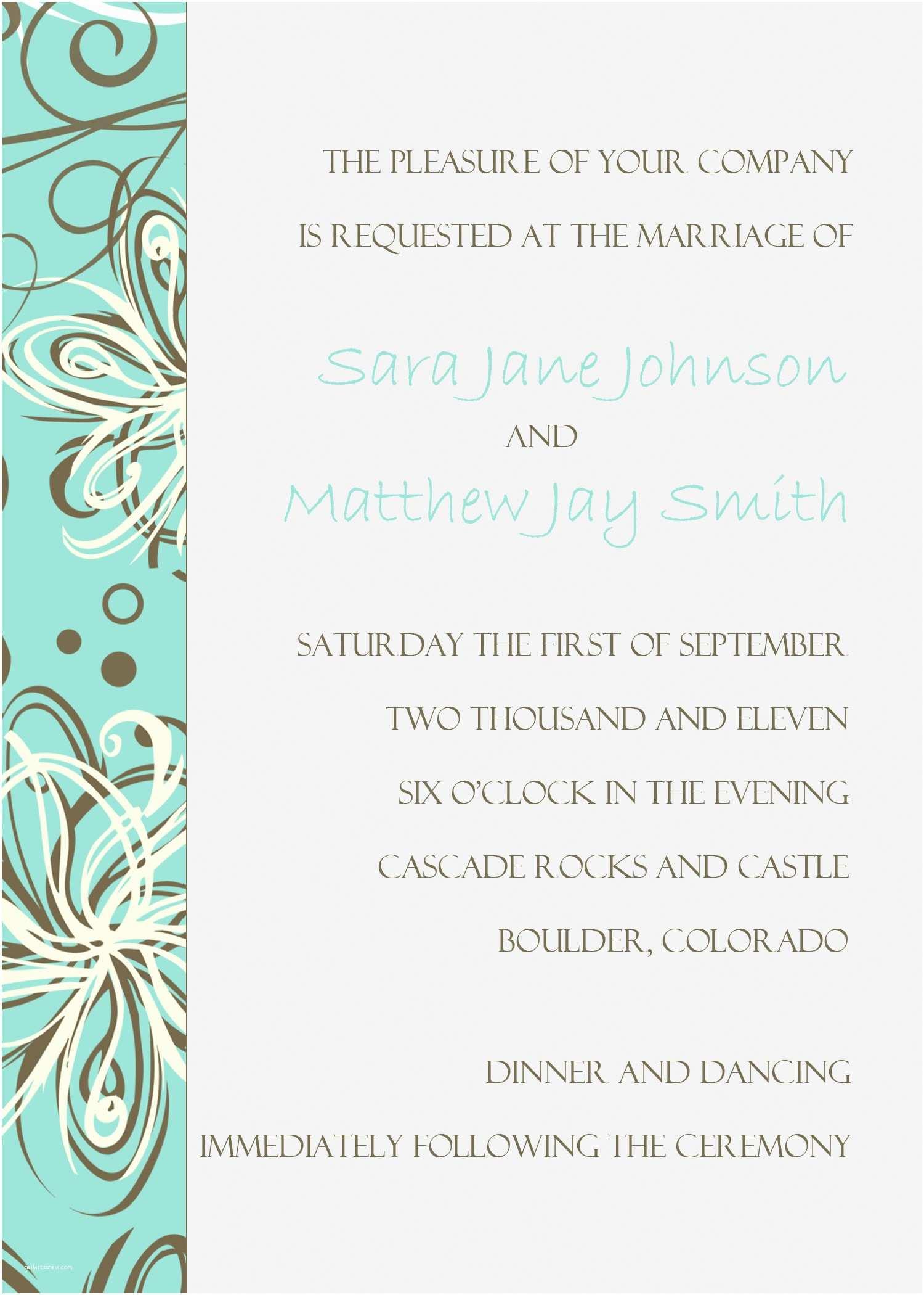 Free Printable Wedding Invitation Templates for Microsoft Word Free Wedding Invitation Templates