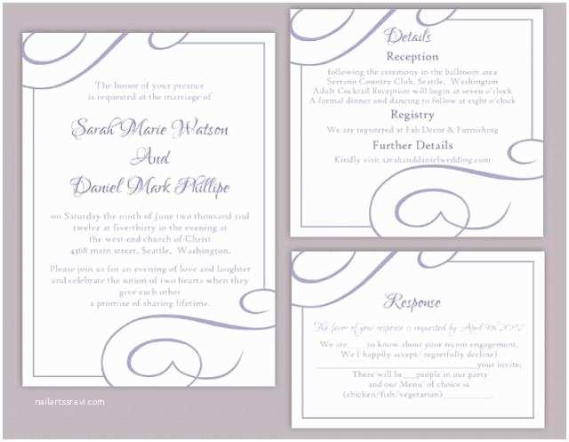 diy wedding invitation template set editable word file instant printable invitation purple wedding invitation lavender wedding