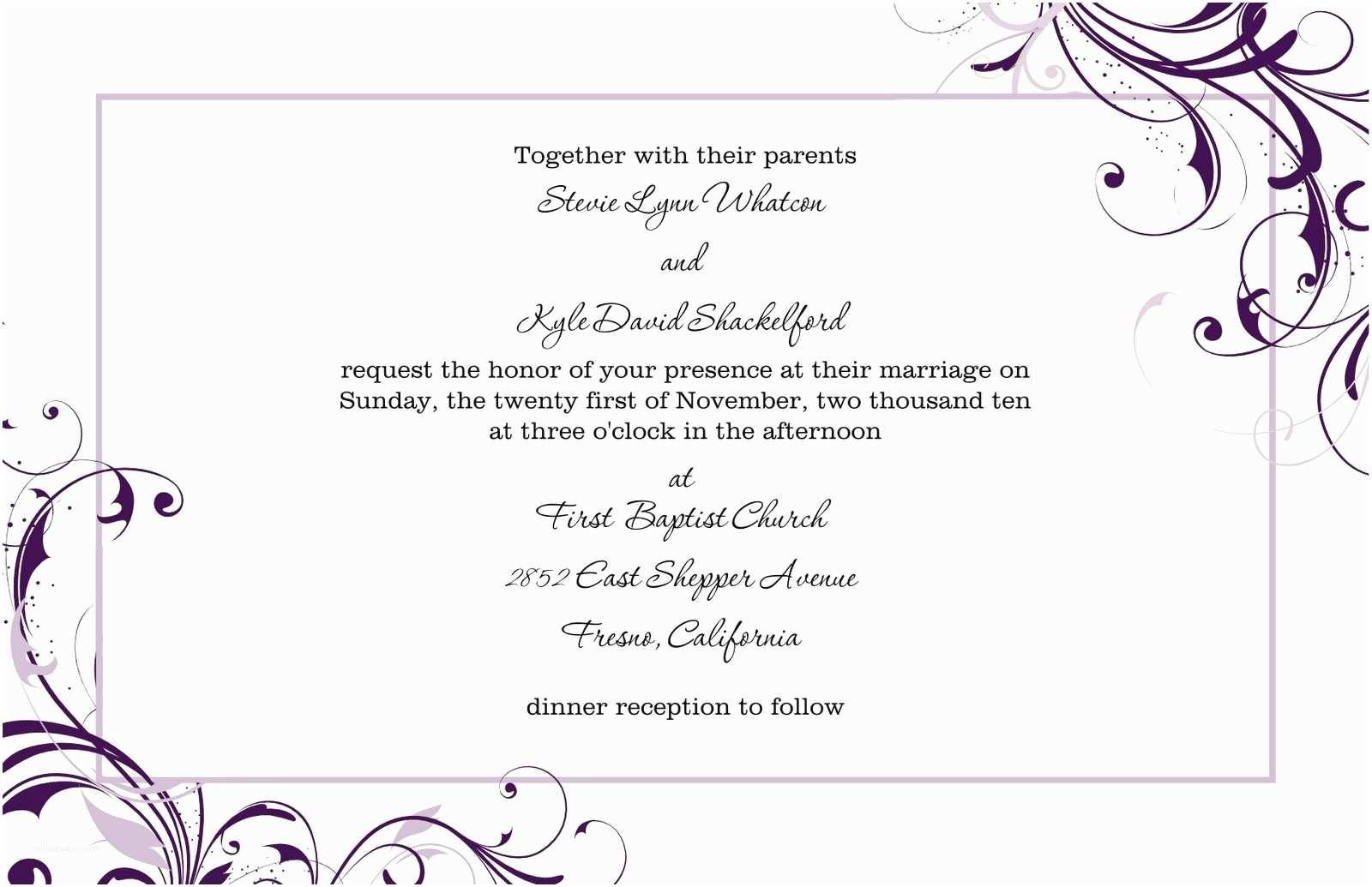 Free Printable Wedding Invitation Templates for Word Free Blank Wedding Invitation Templates for Microsoft Word