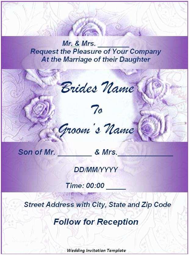 Free Printable Wedding Invitation Templates for Word Wedding Invitation Templates