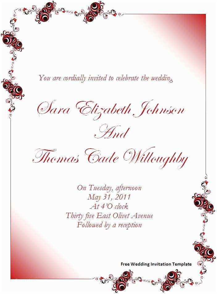 Free Printable Wedding Invitation Templates Free Wedding Invitation Template Download Page
