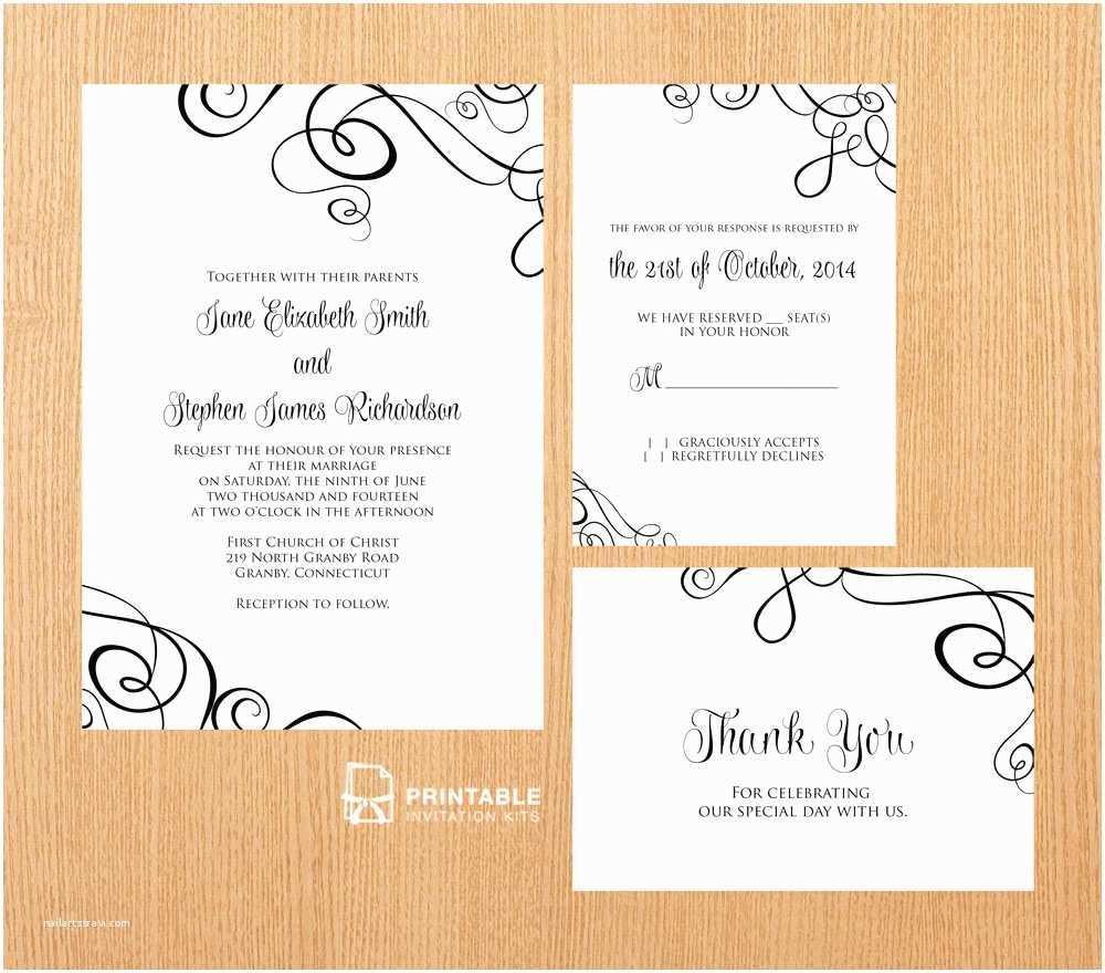Free Printable Wedding Invitations Abstract Ribbon Swirls Invitation Set ← Wedding Invitation
