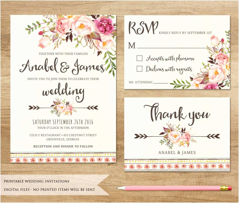 Free Printable Wedding Invitations Floral Wedding Invitation Printable Wedding Invitation