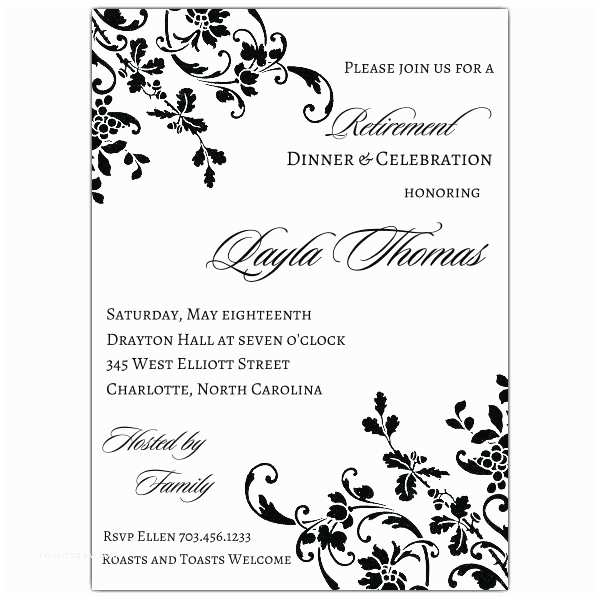 Free Retirement Invitation Templates Floral Stripe Retirement Invitations