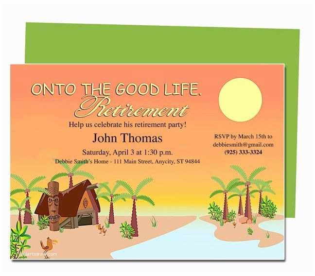 Free Retirement Invitations Retirement Templates Tropicana to the Good Life