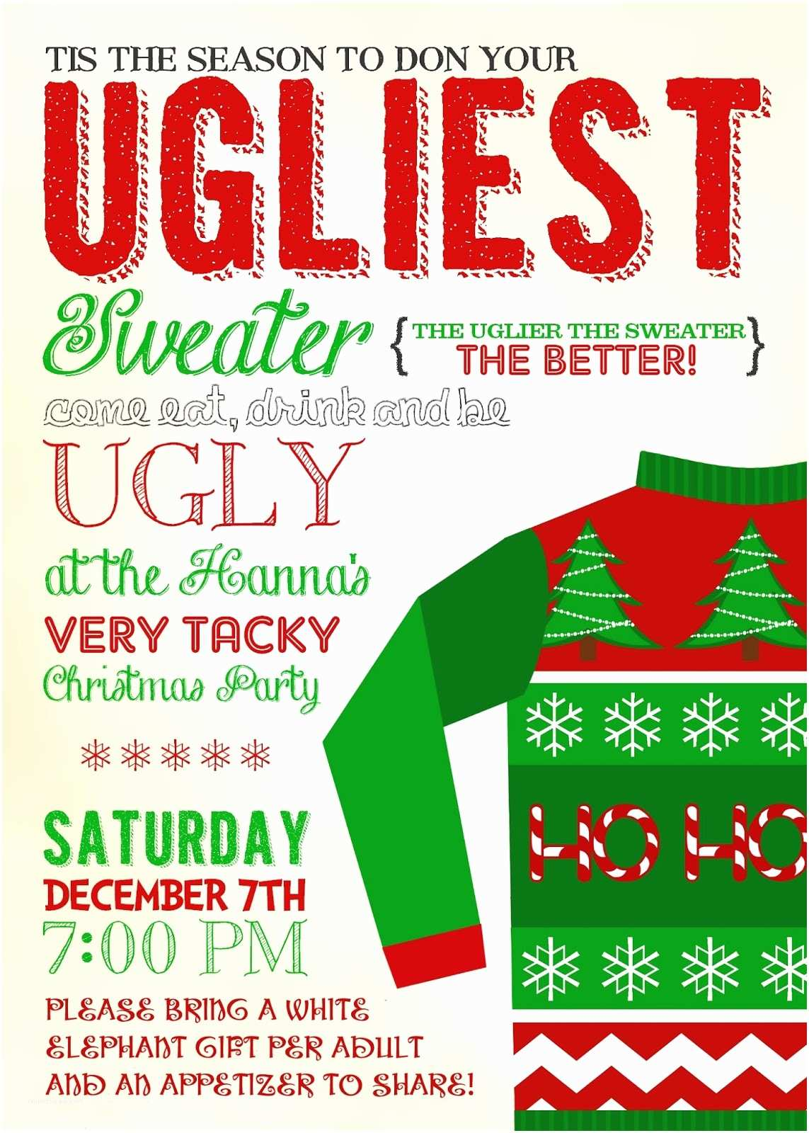 Free Ugly Sweater Party Invitations Christmas In July Invitations Templates
