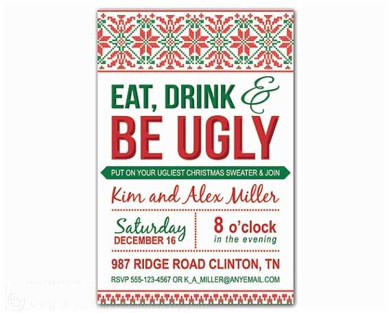 Free Ugly Sweater Party Invitations Free Printable Ugly Christmas Sweater Party Invitations