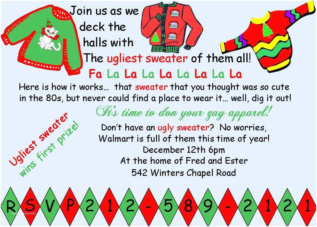 Free Ugly Sweater Party Invitations Ugly Christmas Sweater Invitation Wording – Happy Holidays