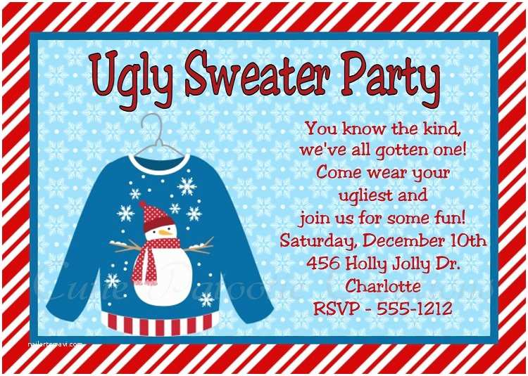Free Ugly Sweater Party Invitations Ugly Christmas Sweater Party Invitation Templates