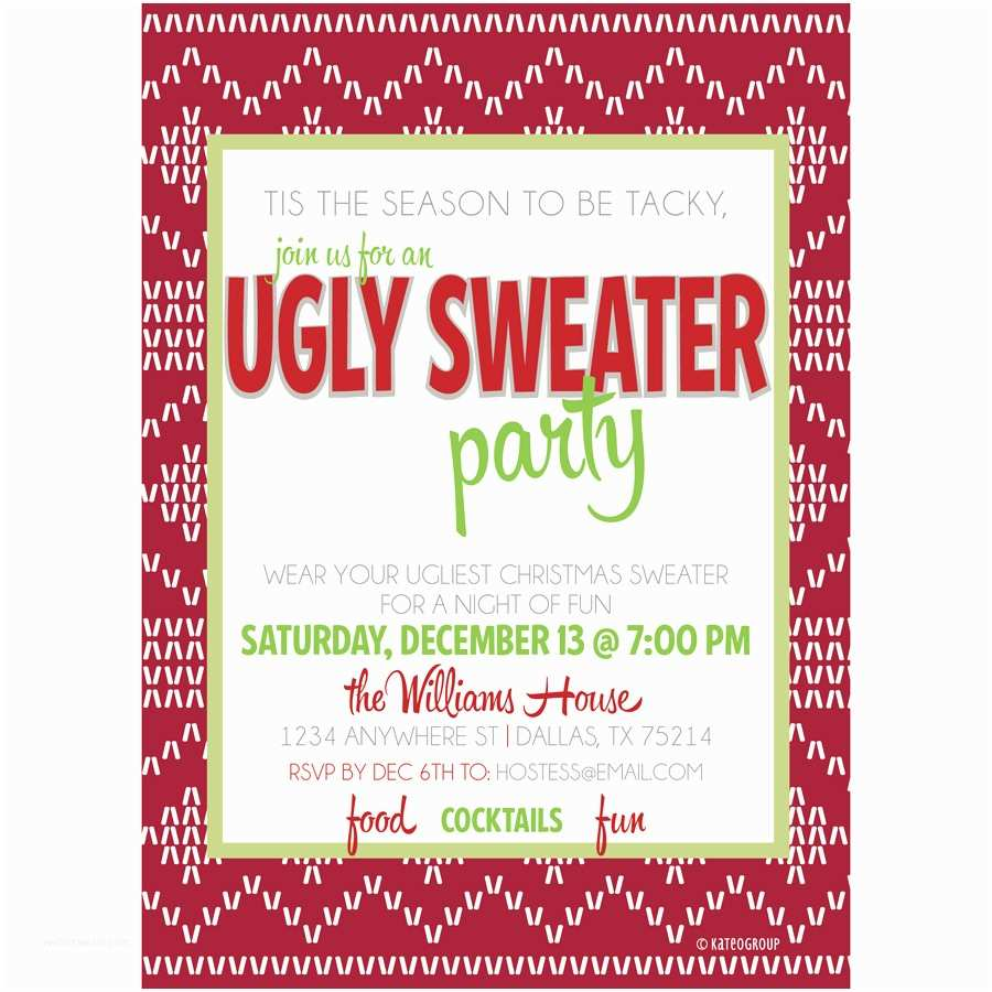 Free Ugly Sweater Party Invitations Ugly Christmas Sweater Party Invitation Wording
