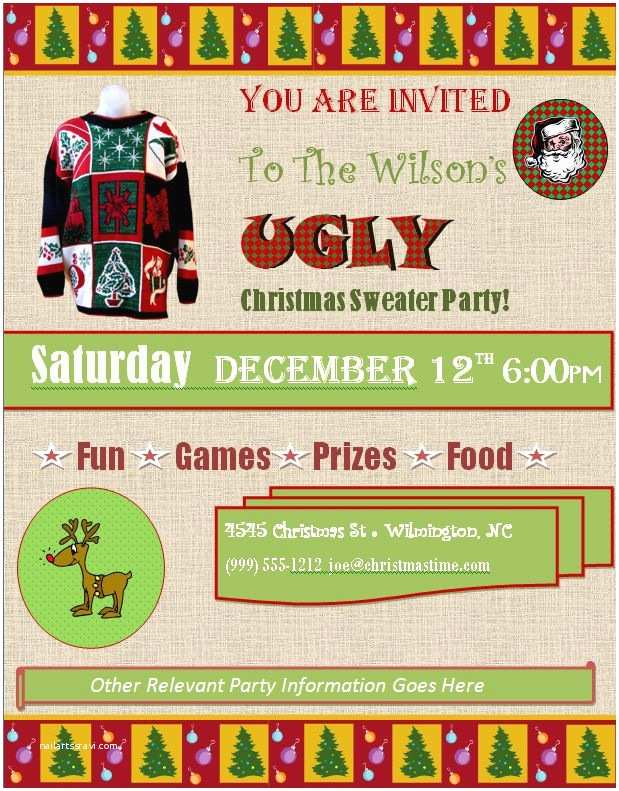 Free Ugly Sweater Party Invitations Ugly Christmas Sweater Party Invitations Free Downloads