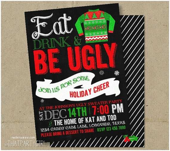 Free Ugly Sweater Party Invitations Ugly Sweater Christmas Party Chalkboard Invitations Diy