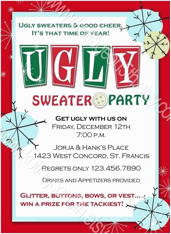 Free Ugly Sweater Party Invitations Ugly Sweater Party Printable Digital Invitation File