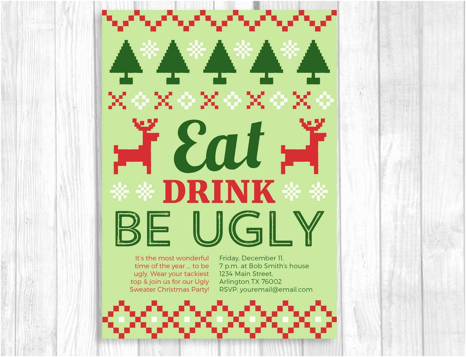 Free Ugly Sweater Party Invitations Weddings by Susan Ugly Christmas Sweater Party Printable