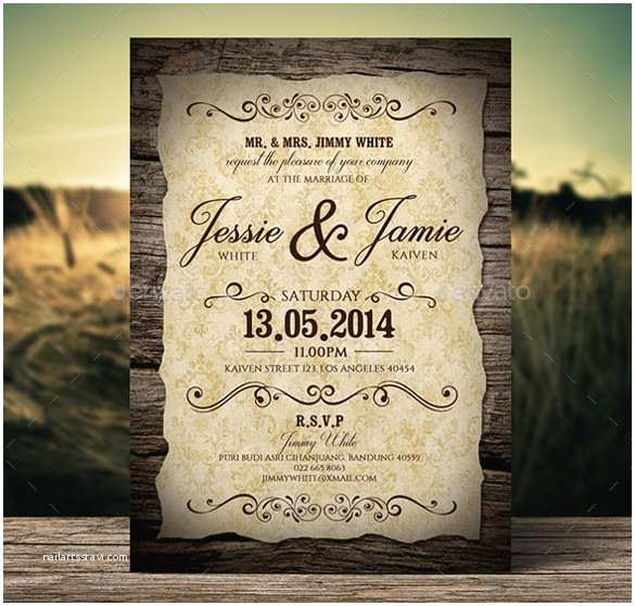 Free Vintage Wedding Invitation Templates 23 Vintage Wedding Invitation Free Psd format Download
