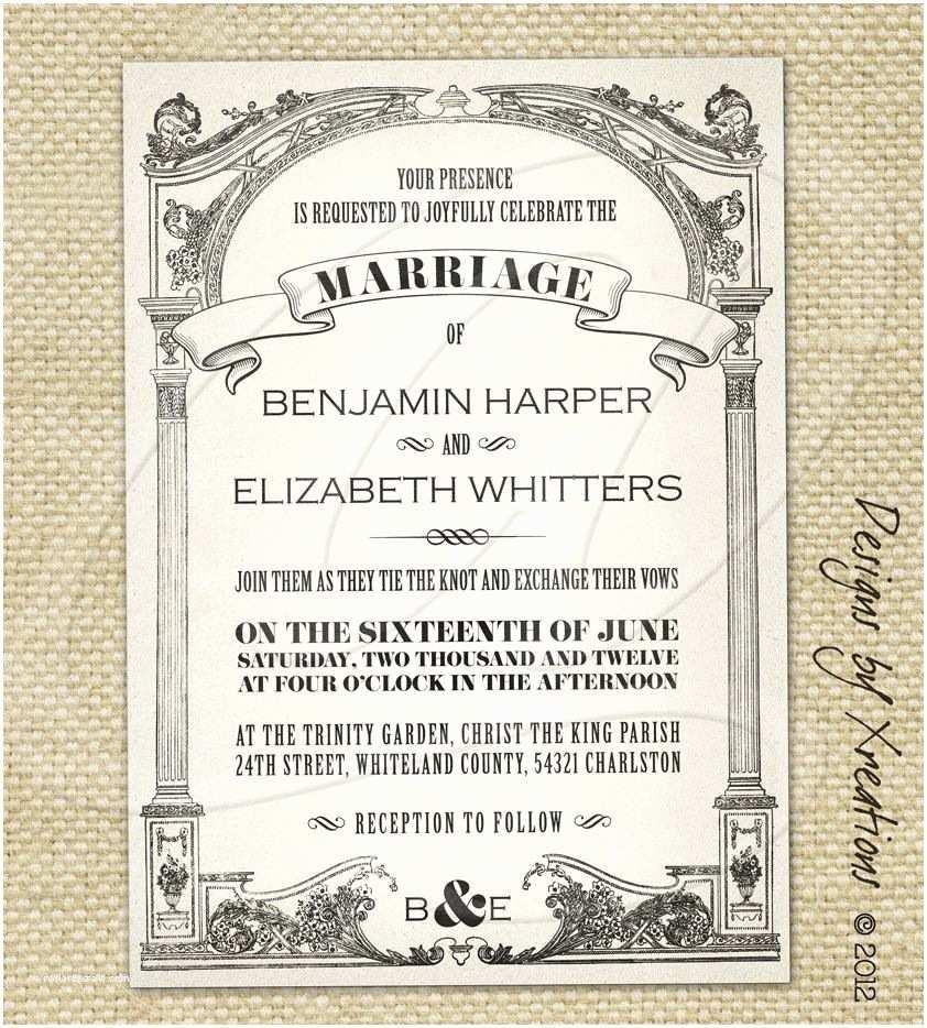 Free Vintage Wedding Invitation Templates Vintage Wedding Invitations