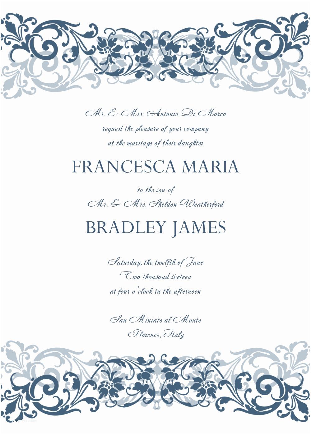 Free Wedding Invitation Samples Free Wedding Design Invitation Template