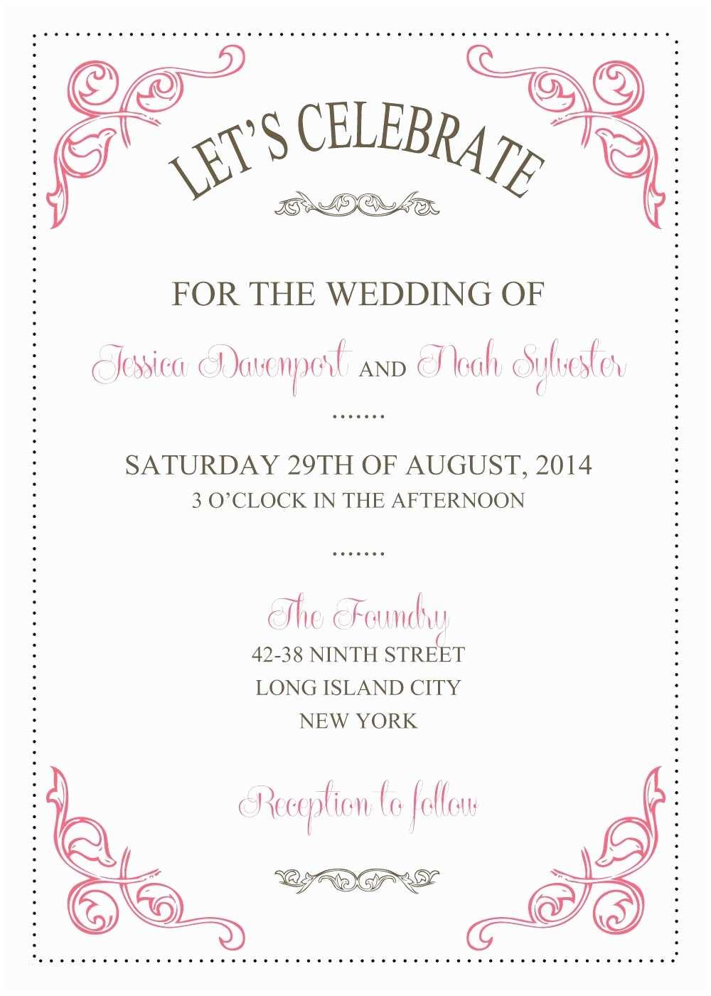 Free Wedding Invitation Samples Wedding Invitations Template Wedding Invitations