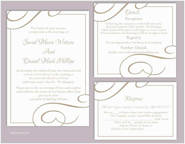 Free Wedding Invitation Templates for Word Diy Wedding Invitation Template Set Editable Word File