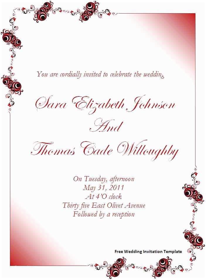Free Wedding Invitation Templates for Word Free Wedding Invitation Template Download Page