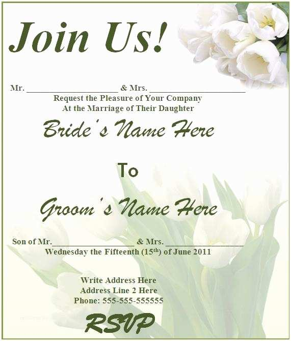 Free Wedding Invitation Templates for Word Free Wedding Invitation Templates