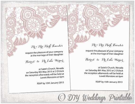 "Free Wedding Invitation Templates for Word Wedding Invitation Template ""antique Lace"" Diy Wedding"