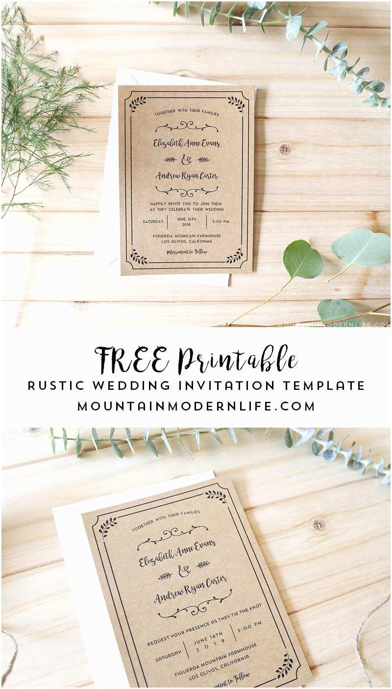 Free Wedding Invitation Templates Free Printable Wedding Invitation Template