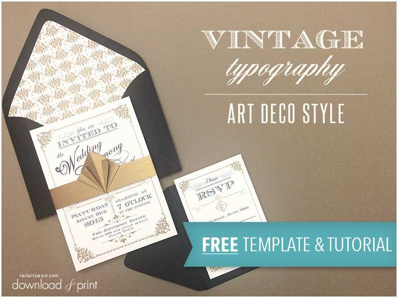 Free Wedding Invitation Templates Free Template Vintage Wedding Invitation with Art Deco Band