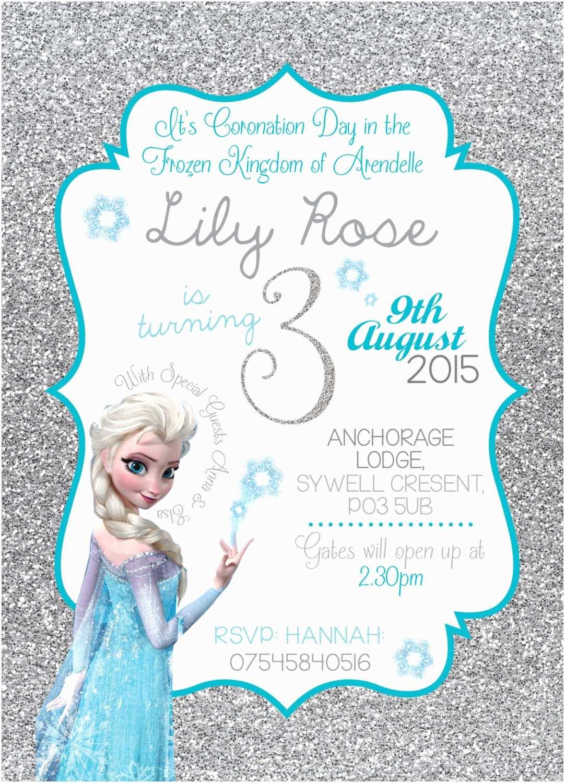 Frozen Birthday Invitation Disney Frozen Birthday Invitation Queen Elsa Anna Glitter