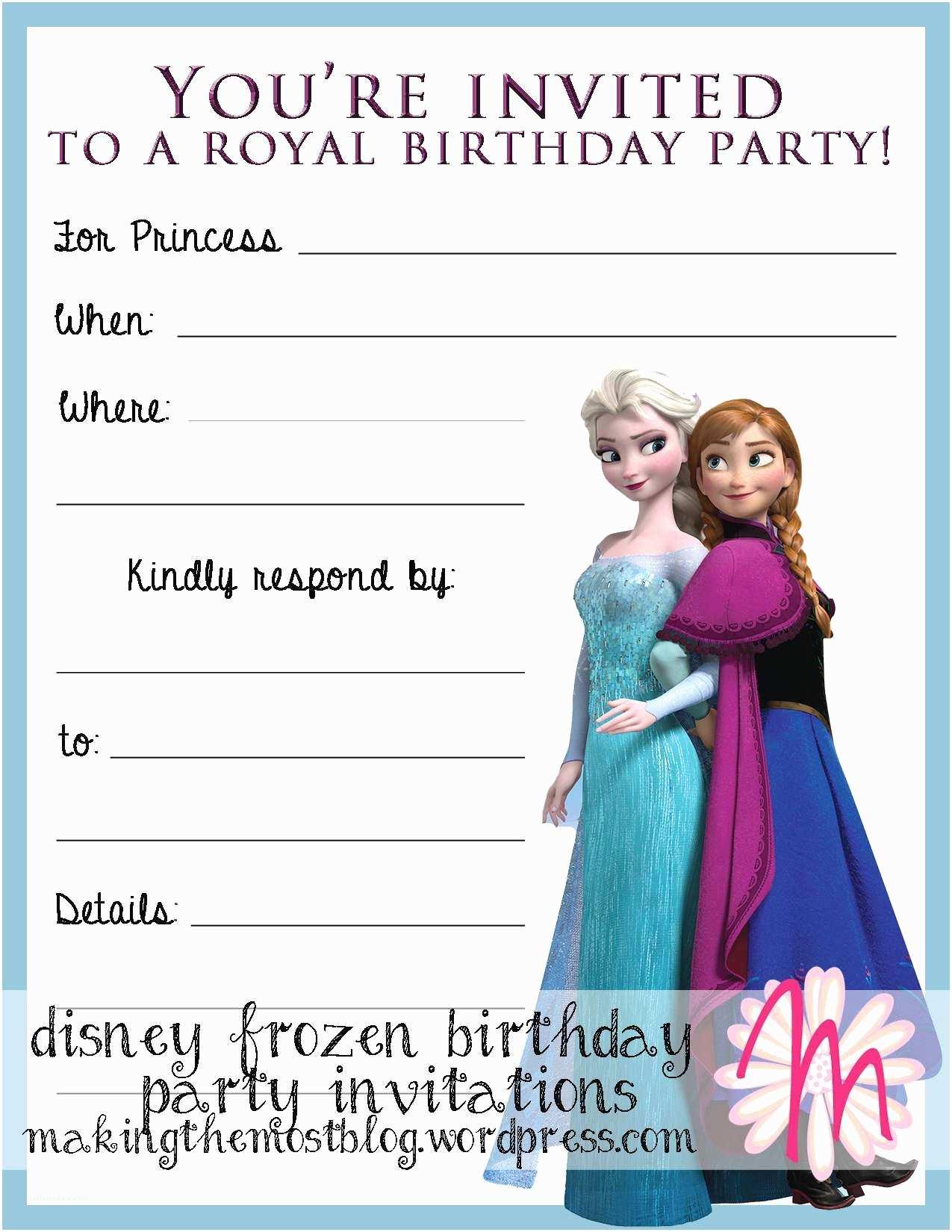 Frozen Birthday Party Invitations Frozen Birthday Invitations Printable