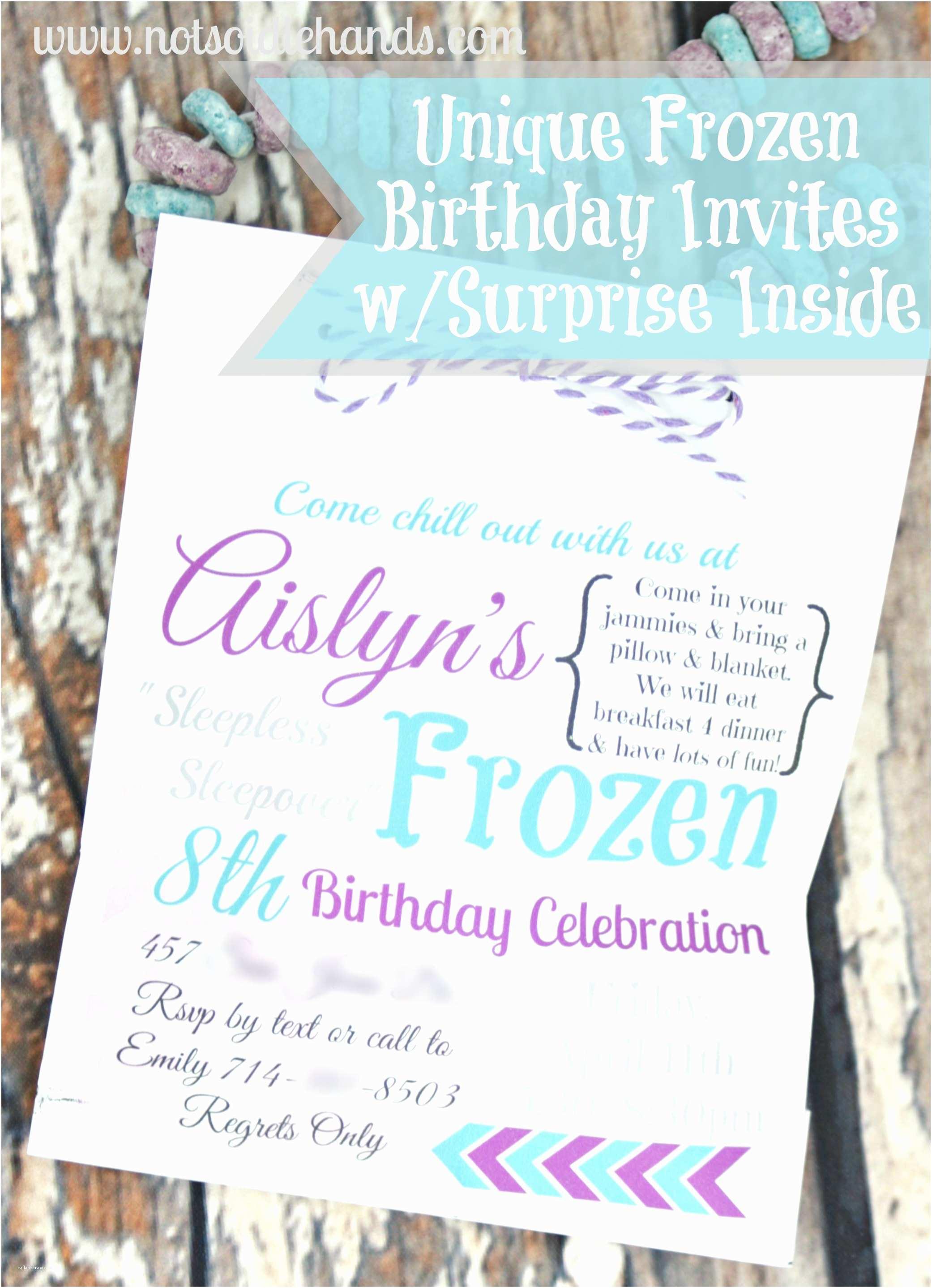 Frozen Birthday Party Invitations Unique Frozen Birthday Party Invites with Treat Inside