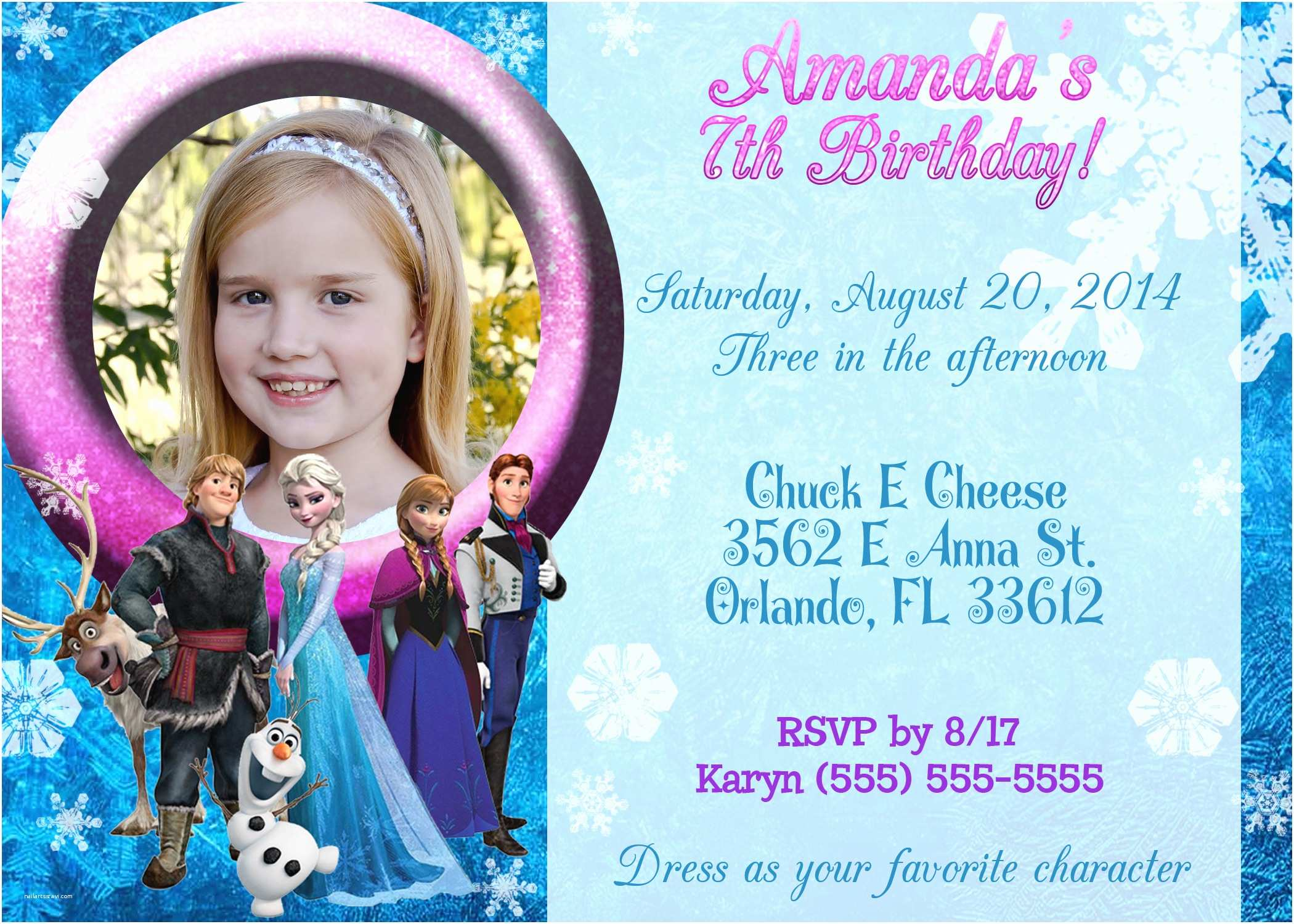 frozen 2013 birthday invitation
