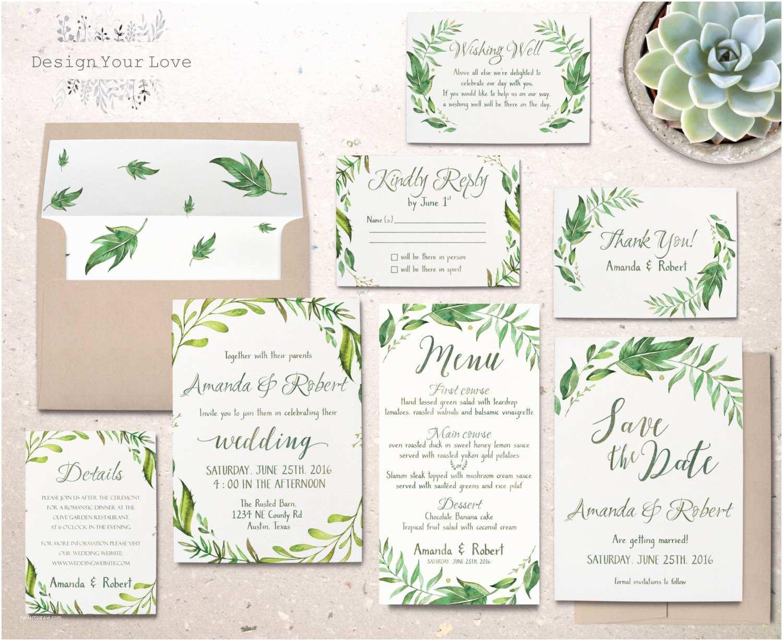 Full Wedding Invitation Sets Printable Greenery Wedding Invitation Suite Green Wedding