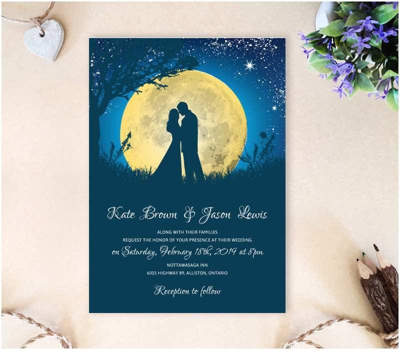 Fun Places To Send Wedding Invitations Moon Night Wedding Invitations