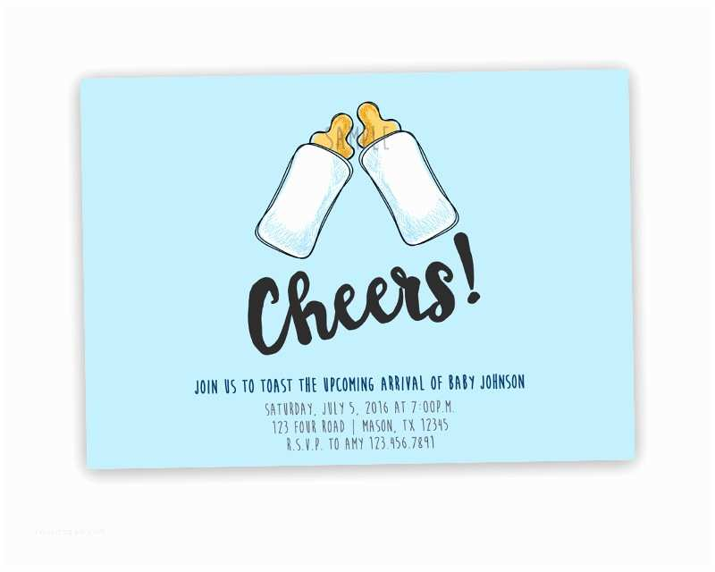 Funny Baby Shower Invitations Funny toast Cheers Baby Shower Invitation — Party Print