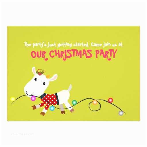 """Funny Christmas Party Invitation Wording Funny Christmas Party Invitation Card Goat Kid 5"""" X 7"""