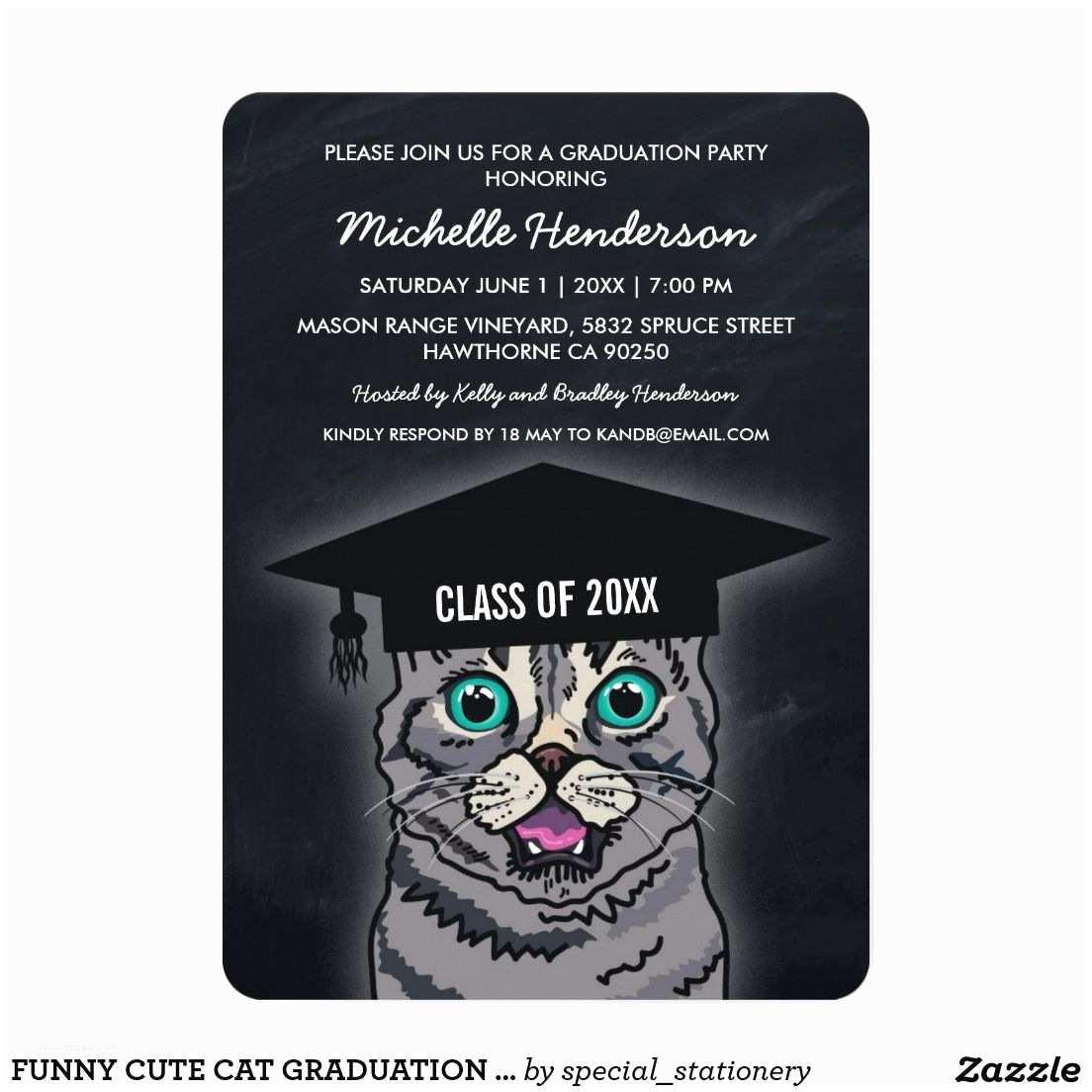 Funny Graduation Invitations Funny Cat Graduation Party Invite